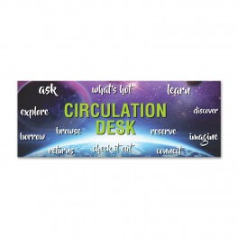 Circulation Desk Wall Graphic Sticker (Space Design)