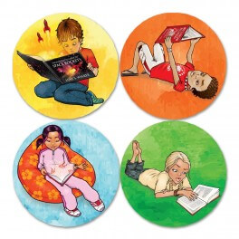 Reading Kids 1 Printed Vinyl Stickers